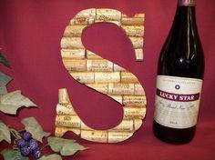 Wine Cork Monogram Letter Initial Wedding gift Personalized decoration S. $29.99, via Etsy.