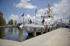 PORTSMOUTH, Va. - The Coast Guard Cutter Albacore, an 87-foot patrol boat homeported at Virginia Beach, is moored to the pier in downtown Portsmouth Monday, May 28, 2012. The crew aboard the Albacore offered public tours during Memorial Day. U.S. Coast Guard photo by Petty Officer 2nd Class Walter Shinn.