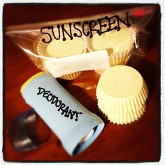 Homemade sunscreen: (1 cup= 8 oz) Combine and melt in a glass bowl, placed over a sauce pan with 1 in. of boiling water.  1 cup cocoa butter, 1 cup coconut oil, and 1 cup beeswax. Remove from heat to let cool a little. Add 2 table spoons of zinc oxide powder/ 2 oz of Desitin (40%) for sunscreen. If you want deodorant replace the zinc with the same amount of baking soda. Mix well, pour into molds, put in fridge to set. Yields about 26 oz. BAM! Au natural