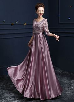 Lace Evening Dress Satin Round Neck Half Sleeve Mother Of The Bride Dress Cameo Pink A Line Floor Length Party Dress