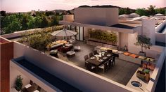In a traditional neighborhood of Providencia and surrounded by large green areas. Roof Terrace Design, Rooftop Design, Balcony Design, Patio Design, Exterior Design, House Design, Rooftop Terrace, Home Fashion, Future House