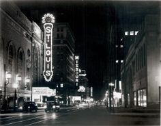 St. Louis Movie Theater, 718 North Grand Avenue. Night view with Missouri and American Theater marquees in the distance. (1954) Give the gift of a beautiful historical print from the Missouri History Museum's photos and prints collection. Framed prints starting at $29.95.