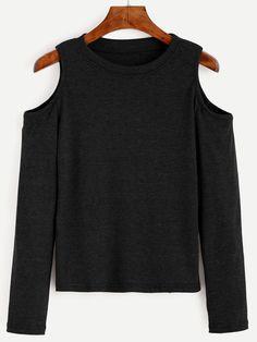 Black Open Shoulder Knit T-shirt