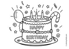 Birthday Cake Coloring Pages - Free Large Images | Crafts ...