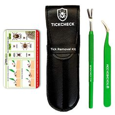 TickCheck Premium Tick Remover Kit - Stainless Steel Tick Remover + Tweezers, Leather Case, and Free Pocket Tick Identification Card Set) Tick Removal, Removal Tool, Deer Ticks, Small Deer, Cedar Oil, Tick Control, Flea And Tick, Leather Case, Pet Supplies