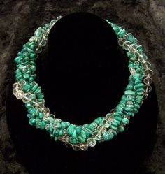 five strand turquoise and crystal necklace