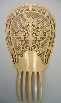 """Large Victorian Celluloid """"French Ivory"""" Mantilla Comb"""