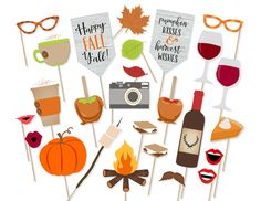 Printable Happy Fall Y'all Photo Booth Props by PrintablePropShop More