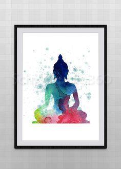 Buddha Watercolor Print Archival Fine Art Print by Buddha Painting, Buddha Art, Watercolor Print, Watercolor Paintings, Tattoo Watercolor, Indian Art, Art Drawings, Fine Art Prints, Yoga
