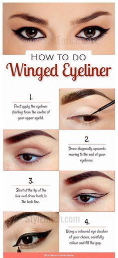 Eye #makeup is an art and doing it perfectly is very important to show off your glamorous eyes. The most important part of eye makeup is the application of eye liner. Winged #eyeliner is the latest trend in eye makeup today. Here are some simple step by step procedures on how to apply winged eyeliner. #howtodowingedliner #wingedlinerhacks #glamorousmakeup #wingedlinerhowto #wingedlinermakeup