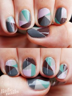 Gotye nails. love the song, love the nail pattern (tried this. whew. need more practice. tape manicures are not my forte.