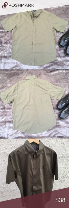 """🆕 Croft & Barrow Short Sleeve Dress Shirt This is an olive green button up short sleeve casual dress shirt. Has one front pocket. Two tone olive green stripes. True to color are the photos showing the shirt hanging on hanger. Much better lighting but a breezy day for photos. Measurements are 25.5 pit to pit & 31"""" long. Content is 60% Cotton & 40% polyester. Worn once. In like new condition with NO spots or damage. croft & barrow Shirts Casual Button Down Shirts"""