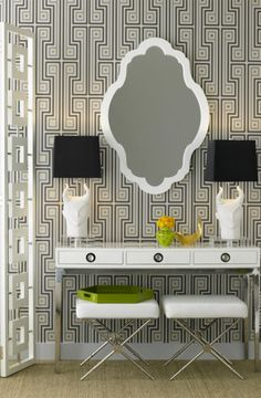 Your dressing table should be a place where glamour begins each and every day. Seated in a white leather bench  with silver accents, looking into a decorative mirror and leaning on your high-gloss lacquered dressing table, there is no alternative to glamour-filled day.