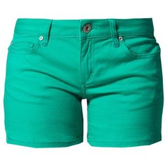 ONLY CARRIE Denim shorts peacock (115 HRK) ❤ liked on Polyvore featuring shorts, bottoms, green, denim short shorts, jean shorts, green denim shorts, green shorts and denim shorts