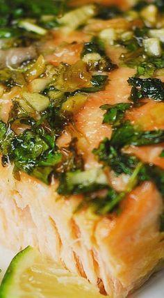 Cilantro-Lime Honey Garlic Salmon (baked in foil).