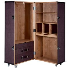 Portable Wardrobe Organizing Your Things - goodworksfurniture Portable Wardrobe, Portable Closet, Closet Storage, Locker Storage, Home Office Accessories, Wooden Wardrobe, Campaign Furniture, Butler, Vintage Luggage