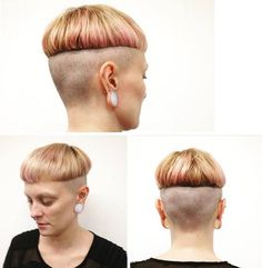 bowlcut with undershave Bowl Haircuts, Short Bob Haircuts, Buzz Cut Women, Straight Fringes, Ugly Hair, Shaved Sides, Bowl Cut, Strong Girls, Blonde Color