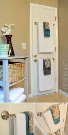 Towel Rods on the Back of the Door. Make full use of the tiny space behind your doors! #smallbathroomlooks