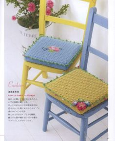 ISSUU - Pretty color crochet goods 4 by Crowe Berry Crochet Cushions, Crochet Pillow, Crochet Round, Crochet Home, Diy Craft Projects, Crochet Projects, Crafts, Sofa Arm Covers, Crochet Furniture