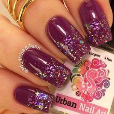 shweshwe dresses 2017 and the latest nail art Nail Art Designs 2016, Cute Nail Art Designs, Beautiful Nail Designs, Acrylic Nail Designs, Burgundy Nails, Purple Nails, Bling Nails, Glitter Nails, Colorful Nail Art