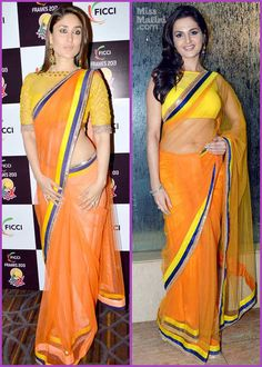 Actress Kareena Kapoor Khan wore an orange saree by Manish Malhotra for the FICCI Frames Awards and last night, at the All India Achiever's Awards, Monica Bedi wore the exact same saree. Indian Beauty Saree, Indian Sarees, Ethnic Fashion, Indian Fashion, Kareena Kapoor Photos, Indian Bollywood, Bollywood Actress, Manish Malhotra Saree, Orange Saree
