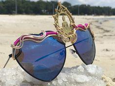 BLUE Reflective Hearts  ~  Lotus Buddha Third Eye ~ SPUNGLASSES ~ Unique Wire Wrapped Sunglasses Eyewear Sunnies ~ Free Shipping