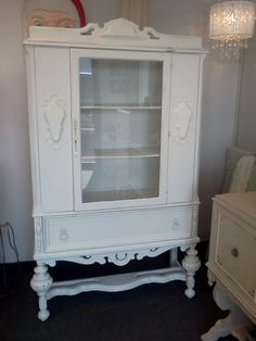 shabby chic china cabinet | Vintage Painted and Distressed Shabby Chic China Cabinet