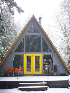 Architecture – Come Hideaway in Lake George, NY A Frame Cabin, A Frame House, Chalet Canada, Deck Design, House Design, Window Design, Casas Containers, Yellow Doors, Cabin In The Woods