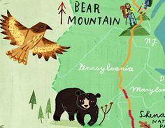 Illustrated map & handlettering for AT Journeys magazine, Appalachian Trail Conservancy, for the release of the Bill Bryson adaptation A Walk In The Woods. Appalachian Trail Map, Trail Maps, Bear Mountain, Walk In The Woods, Childrens Books, Behance, Illustration, Check, Children's Books