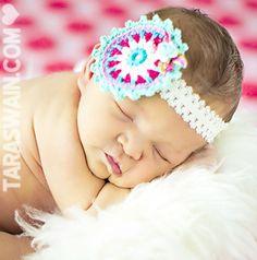 Baby Headband - Crochet Flower headband in teal and pink