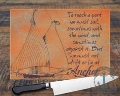 Glass Cutting Board  Sailing Poem Oliver Wendell Holmes
