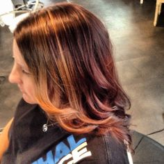 Copper red highlights hair