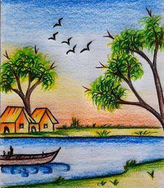 Scenery Drawing Pencil, Beautiful Scenery Drawing, Easy Scenery Drawing, Art Drawings Beautiful, Easy Nature Drawings, Nature Drawing For Kids, Art Drawings For Kids, Flower Drawing For Kids, Oil Pastel Paintings