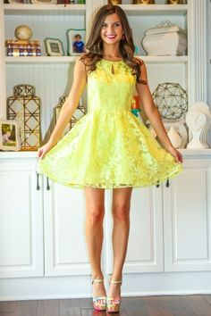 Must have, vibrant yellow floral dress! Spring must have! You closet is begging for this dress! Repin!