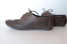 Brown womens blucher. Womens oxfords. Vintage by ANNEOLA on Etsy, $25.00