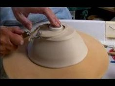 How to Make Pottery Bowls : Trimming a Foot of Clay Pottery Bowls: Part 2