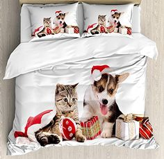 CHASOEA Family Comfort Bed Sheet Christmas Dog Cat in Santa Hats with Surprise Boxes Balls New Year Celebration Red White Brown, 4 Piece Bedding Sets Duvet Cover Oversized Bedspread, Queen Size