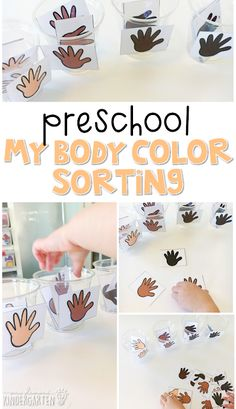 This skin color sorting activity is an easy way to practice sorting by color with a human body theme. Great for tot school, preschool, or even kindergarten! Body Preschool, Preschool Lesson Plans, Preschool Curriculum, Preschool Classroom, Preschool Learning, Learning Activities, Classroom Setup, Preschool Themes, Body Parts Preschool Activities