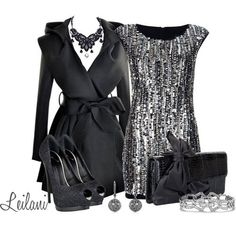 """""""Sparkling New Year's Eve outfit"""" by leilani-almazan on Pol Party Dress Outfits, Black Dress Outfits, Girl Outfits, Fashion Outfits, Sparkle Outfit, Sequin Outfit, New Years Eve Dresses, New Years Outfit, Holiday Outfits"""