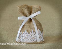 Boda rústica Favor bolsas bolsas de regalo Francés boda por Teomil
