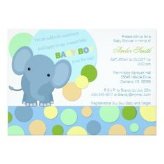 """Baby Elephant Shower Invitation: see this other invite featuring the SAME BABY ELEPHANT! <a href=""""http://www.zazzle.com/baby_elephant_shower_invitation_card-161077208743157710"""" target=""""_blank"""">Shower Time Blue Baby Elephant</a>"""