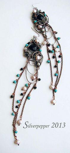 Earrings Перо жар птицы вариация4 by silverpepper23