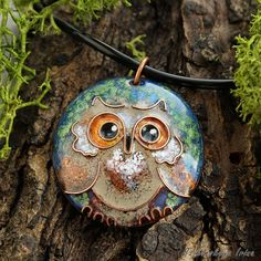 """Every fairy-tale wood has its own Owl. Look ,here it is – hiding in emerald green leaves.  Size: plate – 1.6"""" x 1.4"""" (4 x 3.5 sm). Chain length -"""