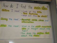 How do I find the main idea? Anchor Chart - Great!