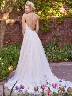 """Marjorie"" by Rebecca Ingram - Come try on this beautiful gown with a unique criss-crossed back! We have it here at Country Bridals!  www.countrybridals.com"