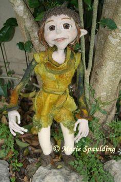 Nuno Felt tunic on Needle felted elf doll by Marie Spaulding
