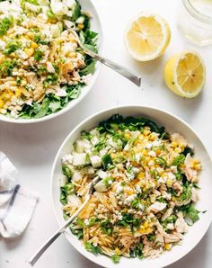 Lemon orzo salad. Get this and more fresh and healthy salad recipes here.