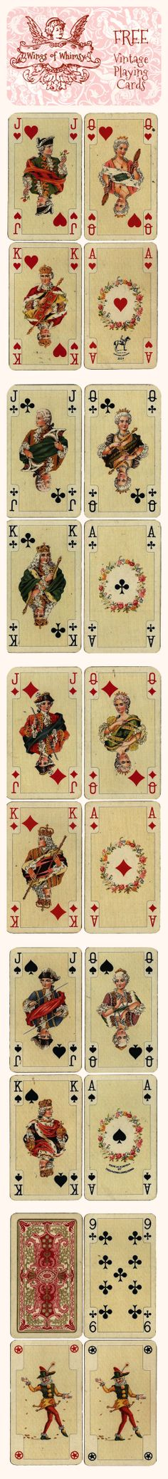 Vintage French Playing Cards * 1500 free paper dolls at Arielle Gabriel's The International Paper Doll Society for paper doll pals at Pinterest *