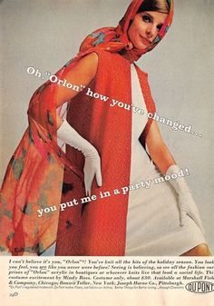 Vintage DuPont Orlon Print Ad 1963 Color Magazine Advertisement Fashion Lady #DuPont