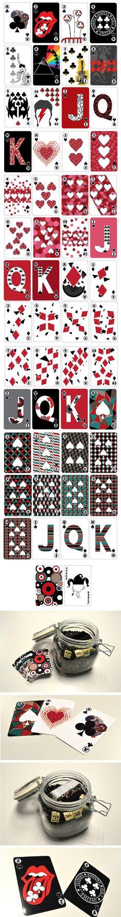 Diseño baraja de cartas (70's, música, café)